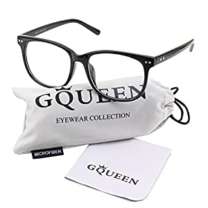 Glasses Queen 201581 Large Oversized Frame Horn Rimmed Clear Lens Glasses,Shiny Black