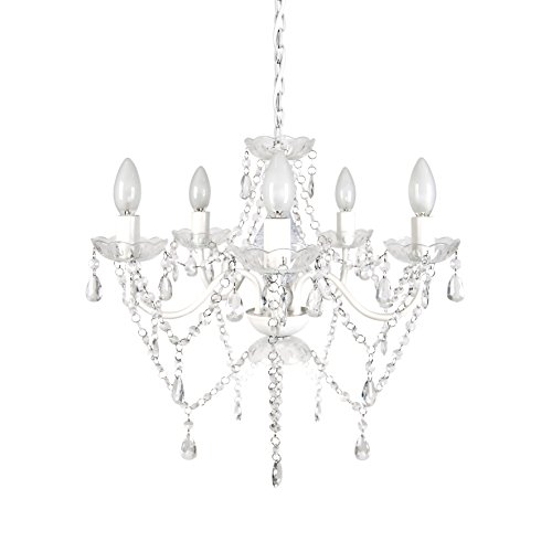 Tadpoles Vintage-Style Chandelier, Crystal Chandelier Lighting, 5-Bulb, White Diamond ()