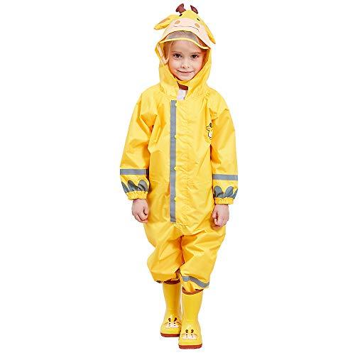 - TOPTIE Unisex Baby and Kids Rainsuit, Rain Coverall Waterproof Jumpsuit-Yellow-M