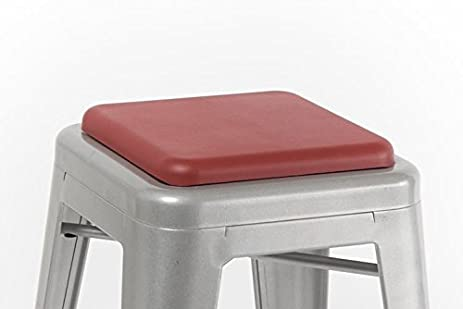 Square Seat Cushion For Metal Bar Stools Or Kitchen Chairs, Red (Chair/Stool