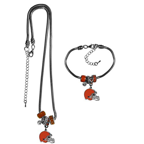Siskiyou NFL Cleveland Browns Euro Bead Necklace & Bracelet Set