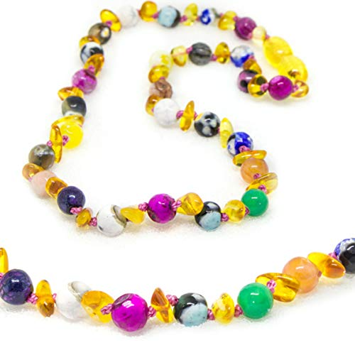 The Art of Cure Original Baltic Amber Necklace- Polished Handmade (Faceted) for boy or Girl - 12-12.5 Inches Size