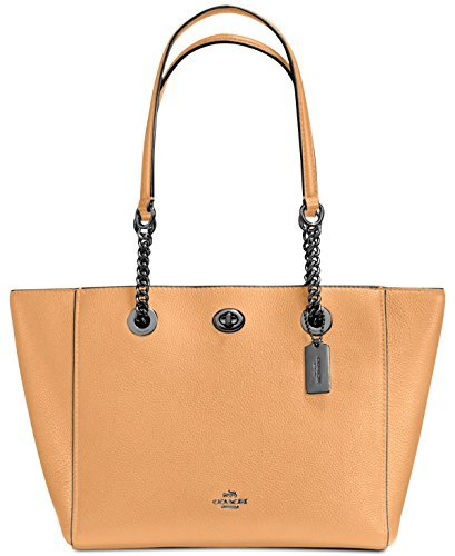 - COACH Women's Pebbled Turnlock Chain Tote 27 Sv/Light Saddle One Size