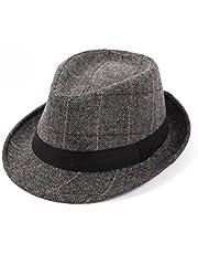 Mens Classic Plaid Short Brim Trilby Manhattan Gangster Fedora Hat Panama Jazz-Hat with Decorative Band