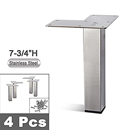 Stainless Steel Metal Sofa Legs, Furniture Legs, Square Tube, Straight  Design   Set