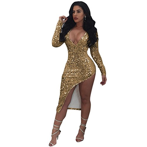 Mojessy Women's Sequins Bodycon Dress Long Sleeve Asymmetric Hem Party Clubwear