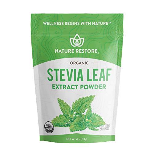 (Nature Restore USDA Certified Organic Stevia Leaf Extract Powder, (4 ounces) Non-GMO & Gluten Free, 100% Natural Stevia Sweetener)
