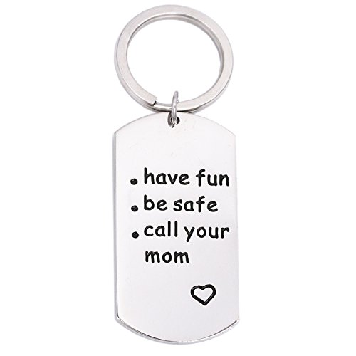 LParkin College Student Gifts High School Graduation Gifts Fun Keychain for Daughter Mom- Have Fun Be Safe Call Your Mom Keychain for Her Him for $<!--$8.99-->
