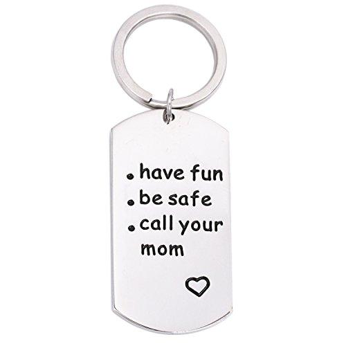 LParkin 2018 Graduation Gift - Have Fun Be Safe Call Your Mom Keychain - Son Keychain - Daughter (High School Graduation Gift)