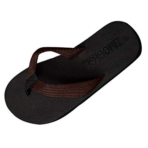 Corriee Men Summer Beach Slippers Flip Flops Weaving Thong Sandals Leisure Home Shoes Brown