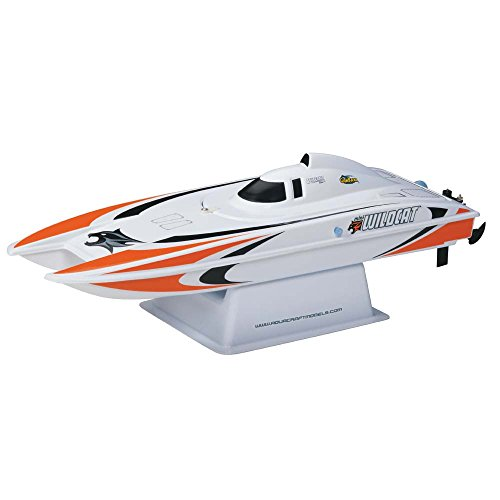 Aquacraft Models RTR Remote Control RC Boat: Mini Wildcat Electric Catamaran with 2.4GHz Radio, Servo, 2 in 1 Receiver / ESC,  Dual Motors, 7.2V 1100mAh NiMH Battery, and Charger (Orange)