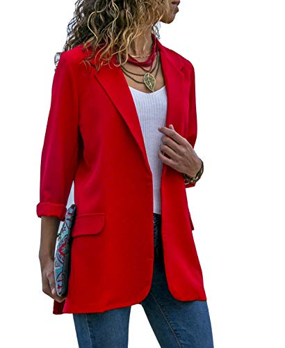 Asskdan Women's Ladies Open Front Long Sleeve Work Office Blazer Jacket Cardigan Casual Basic OL Blazer Suit (Red, Small)