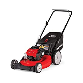 Craftsman M115 140cc Briggs & Stratton 550e Gas Powered High-Wheeled 3-in-1 21-Inch Push Walk-Behind Lawn Mower with Bagger 115 140CC OHV GAS POWERED ENGINE: Powerful Briggs and Stratton 550E gas engine comes equipped with recoil and primer. 3-IN-1 CAPABILITIES: Unit has side discharge, rear discharge, and mulching capabilities. 21-INCH CUTTING DECK: Efficient cutting deck helps trim grass in one quick pass for an easier yard job.