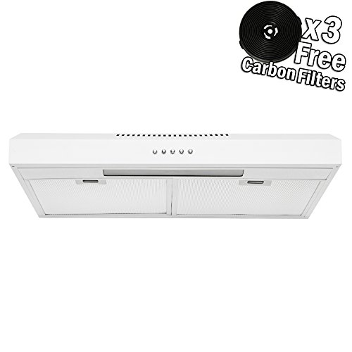 AKDY 24 Under Cabinet Painted White Stainless Steel Push Panel Kitchen Range Hood Cooking Fan w Carbon Filters