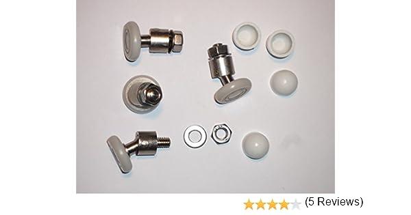 4 Nuevos reemplazos rodillos giratorios para puertas de ducha Ruedas de 20mm con junta universal: Amazon.es: Bricolaje y herramientas