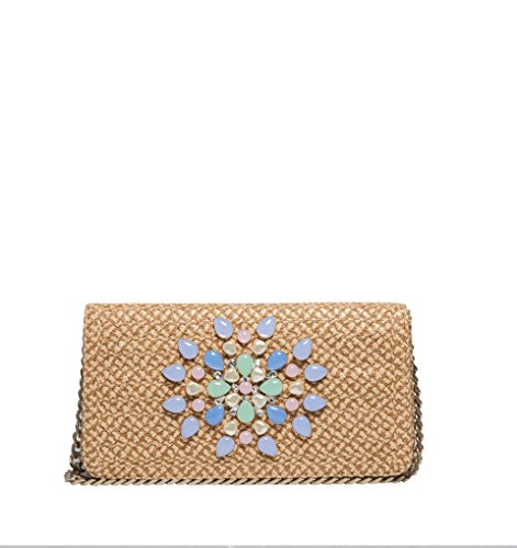Eric Javits Luxury Designer Women's Fashion Handbag - Devi Clutch - Peanut/Mix by Eric Javits