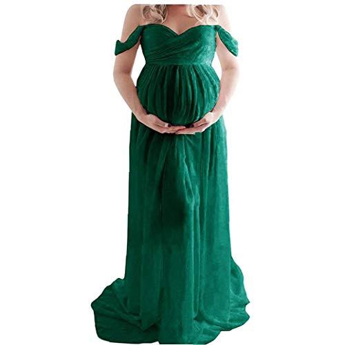 Maxi moederschap jurk chiffon strapless jurk Split Front voor zwangere vrouwen Fotografie Off Shoulder Groen Jurken voor…