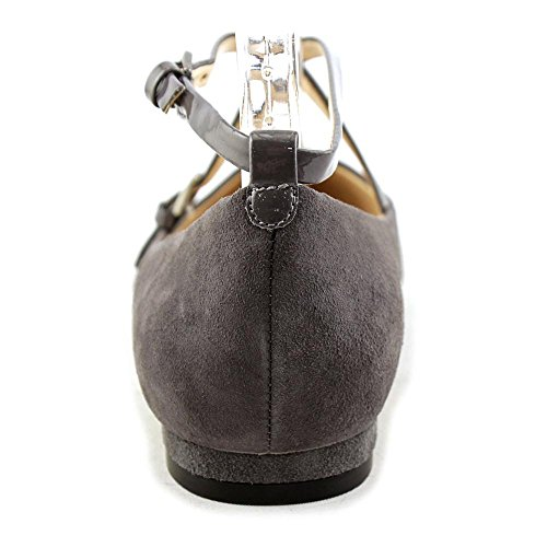 Nine West Womens Anastagia Synthetic Pointed Toe Flat Dark Grey Suede JtdRU9