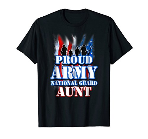 Proud Army National Guard Aunt USA Flag Shirt Women