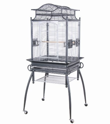 Marvelous Pet Cages Wrought Iron Bird Cage, 24 by 22 by 57-Inch, Green/Gray, My Pet Supplies