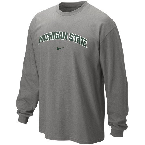 (Nike Michigan State Spartans Classic Arch Long Sleeve T-Shirt - Ash (Medium))