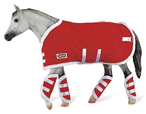 Breyer Traditional Blanket & Shipping Boots Horse Toy Accessory Set, Red (1:9 Scale)
