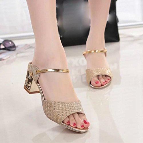 Malloom® Sandalen, Sommer Rough Sandalen Frau Open Peep Toe High Heel Bequeme Schuhe Gold