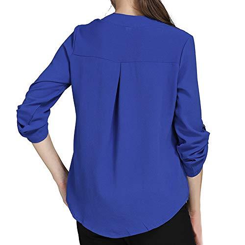 Blouse Femme V Soie Pullover Mousseline de en Beikoard Manches Longues Casual en Solide Cou Tops Chemise Bleu Haut Mousseline q8waIZ4