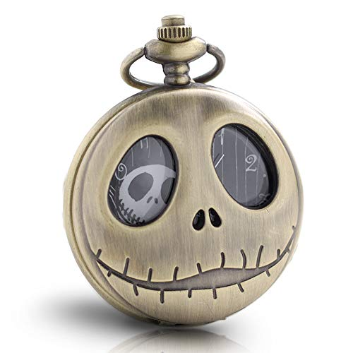 1x Vintage Skeleton Nightmare Before Christmas Pocket Watch with Chain Necklace for Boys Women Kids Mens Pocket Watch Xmas Birthday Gift