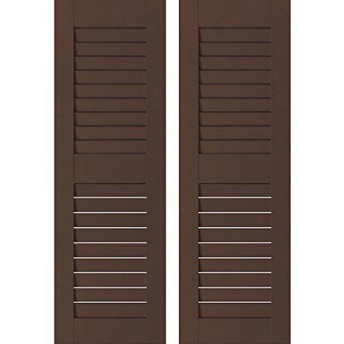 "UPC 889274397159, Ekena Millwork RWL12X033TBP Exterior Real Wood Pine Louvered Shutters (Per Pair), 12"" x 33"", Tudor Brown"