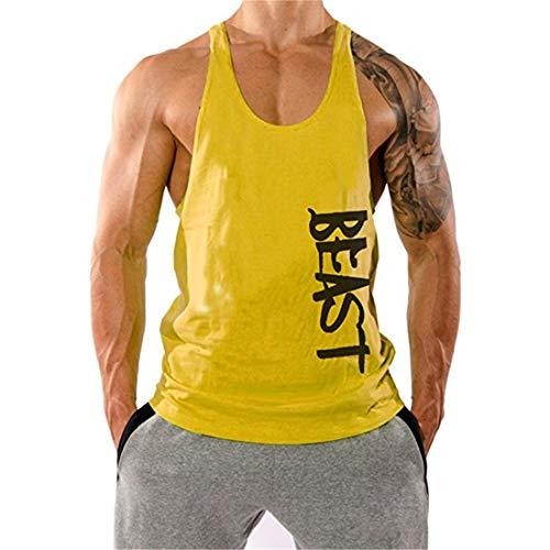 YeeHoo Bodybuilding Herren String Muskelshirt Tank Top Gym Fitness Stringer Baumwolle
