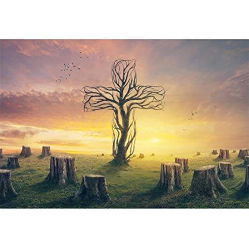 Yeele-Easter-Backdrop 10x6.5ft Easter Photography Background Branch Cross Wooden Pile Tree Stump Lawn Dead Wood Resurrection Sunset Sunshine Photo Backdrops Pictures Studio Props Wallpaper -