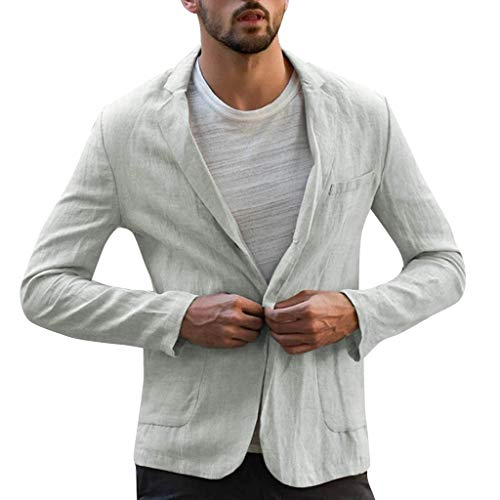 DDLmax Mens Linen Sport Coat Blazer Casual Tailored Slim Fit Lightweight 2 Buttons Half Lined Suit Jacket Gray