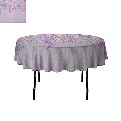 Douglas Hill Butterfly Washable Tablecloth Abstract Soft Color Background with Lovely Summer Season Animals and Circles Dinner Picnic Home Decor D51 Inch Lilac Blue Pink