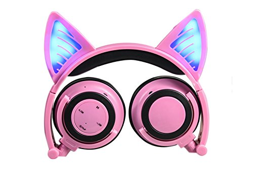 Cat Ear Headphones,Wireless Bluetooth Headset Flashing Glowing Cosplay Fancy LED Light USB Charger Earphone for Girls Children,Compatible for iPhone and Other Android Phones (Pink)