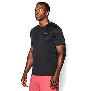 Under Armour Men's Tech V-Neck T-Shirt, Black /Steel, Large