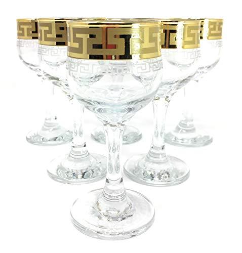 - CRYSTAL GLASS SHOT GLASSES 2oz./60ml. GOLD PLATED SET OF 6 CORDIAL VODKA LIQUEUR WHISKEY GLASSES ENGRAVED VINTAGE GREEK DESIGN CLASSIC STEM GOBLETS