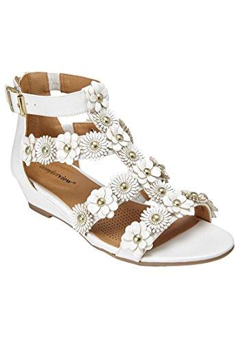 Comfortview Femmes Larges Sandales Alondra Blanc