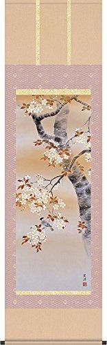 掛軸(掛け軸) 四季花鳥 桜花に小鳥 近藤玄洋作 尺五立 約横54.5cm×縦190cm 結納屋さん.com d8515 B075Q5WFJ2