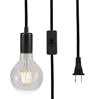 ASOKO Vintage Pendant Hanging Light Cord, UL Listed Socket Light Cord with Plug, Black Flished Metal Shell, 13ft Woven Fabric Cord, E26/E27 Scoket, in-line ON/Off Switch, DIY Projects (Black)