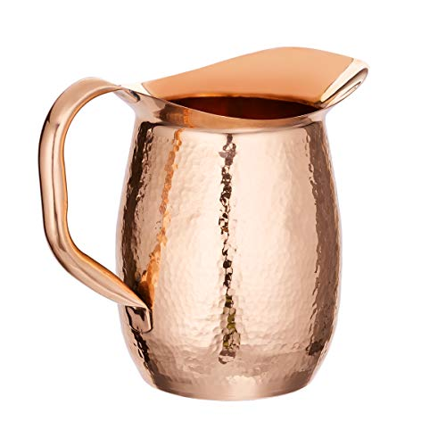 Old Dutch 1520 Stone Hammered Solid Copper Water, 2 Qt Beverage Pitcher Barware