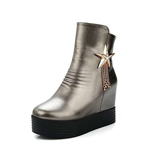 AllhqFashion Womens Zipper Round Closed Toe High-Heels PU Low-top Boots Silver AUXN5W3I