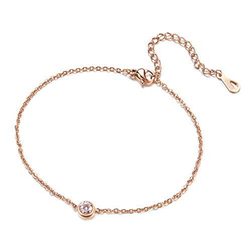 Fesciory Women Stainless Steel Anklet Rose Gold Adjustable Beach Ankle Foot Chain Bracelet Jewelry Gift(CZ) (Rose Gold Chain Bracelet)
