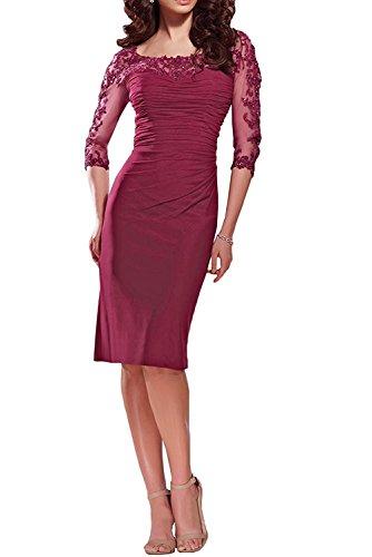 Braut La Rot Dunkel Langarm Spitze Knielang Brautmutterkleider Abendkleider Damen Festlichkleider Rot mia Etuikleider Dunkel TZqw56Z