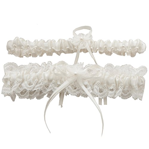 Toss Wedding Garter Set - Rimobul Lace Wedding Garters with Toss Away - Set of 2 (Cream)