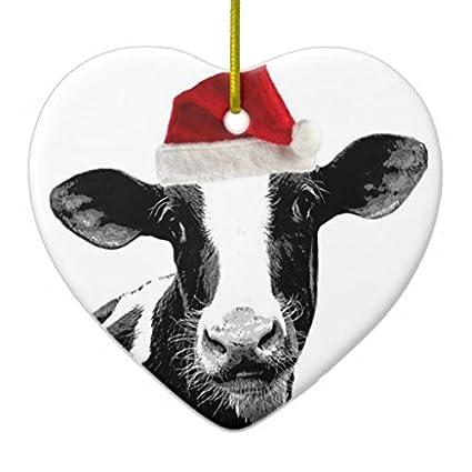 Snowflake Heart Sharp Christmas Ornaments Santa Cow - Dairy Cow Wearing  Santa Hat Ceramic Ornament - Amazon.com: Snowflake Heart Sharp Christmas Ornaments Santa Cow