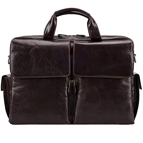 (Maxwell Scott Men's Handmade Leather Business Bag - Lagaro Brown)