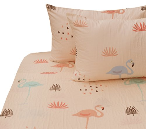 J-pinno Girls Flamingo Double Layer Muslin Cotton Bed Sheet Set Full, Flat Sheet & Fitted Sheet & Pillowcase Natural Hypoallergenic Bedding Set (4, Full)