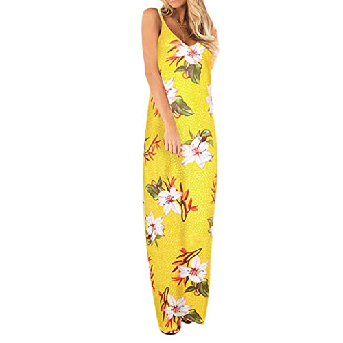 Londony✔ Women Off Shoulder Long Printed Foral Maxi Dress Spaghetti Strap Floral Print Deep V Neck Boho Long Flowy Dress Yellow ()