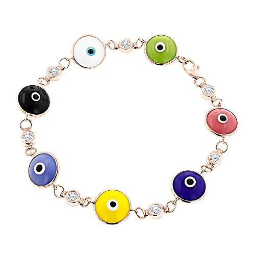 Luxurman 14K Natural 0.7 Ctw Diamond Evil Eye Bracelet Multicolor (Rose ()